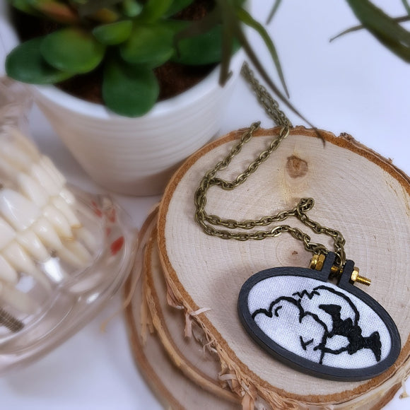 hand embroidered bat necklace