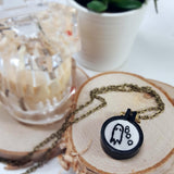 tiny ghost embroidered necklace