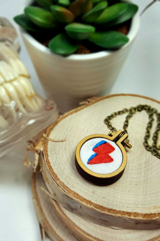 hand embroidered David Bowie Lightning Bolt necklace