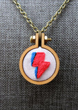 hand embroidered David bowie lightning bolt pendant Pretty In Skulls Collection Pretty In Shop