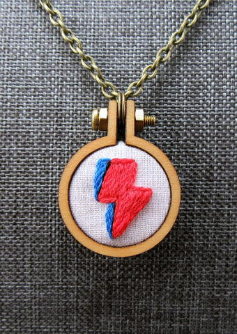 hand embroidered David bowie lightning bolt pendant