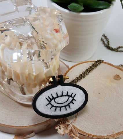 all seeing eye hand embroidered necklace
