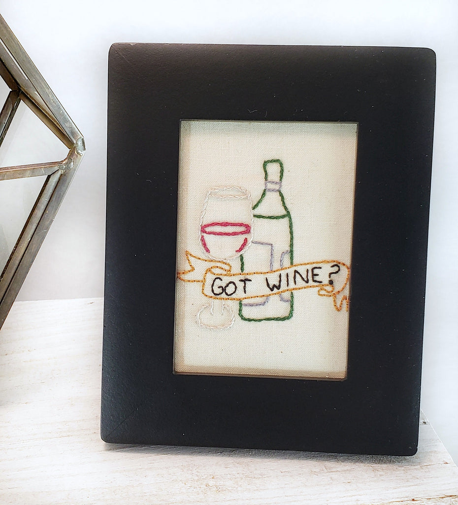 hand embroidered framed home decor got wine
