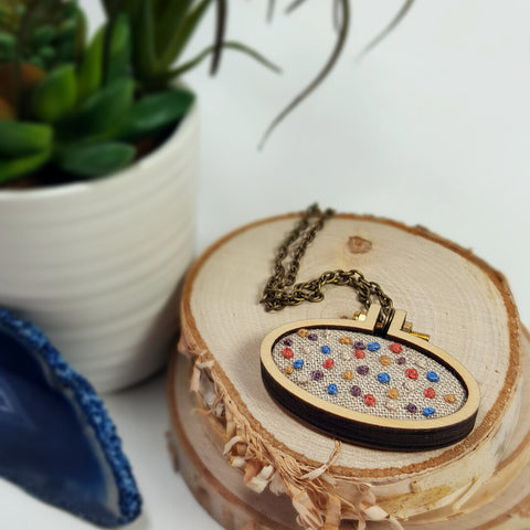 rainbow french knot embroidered necklace