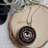one of a kind hand embroidered skull and roses necklace pin combo