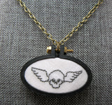embroidered flying skull pendant Pretty In Skulls Collection