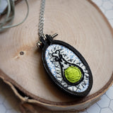neon green hand embroidered potion bottle necklace