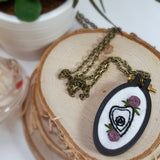 hand embroidered ouija planchette necklace