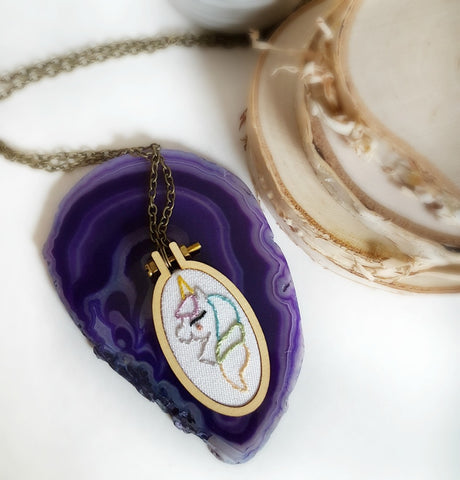 hand embroidered pastel unicorn necklace
