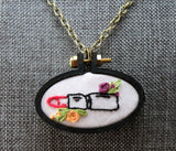 red lipstick floral embroidered necklace