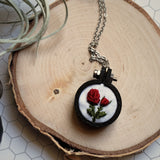 handmade red rose embroidered jewelry
