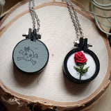 hand painted hoop pendant embroidered necklace