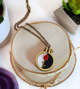 hand embroidered red rose jewelry