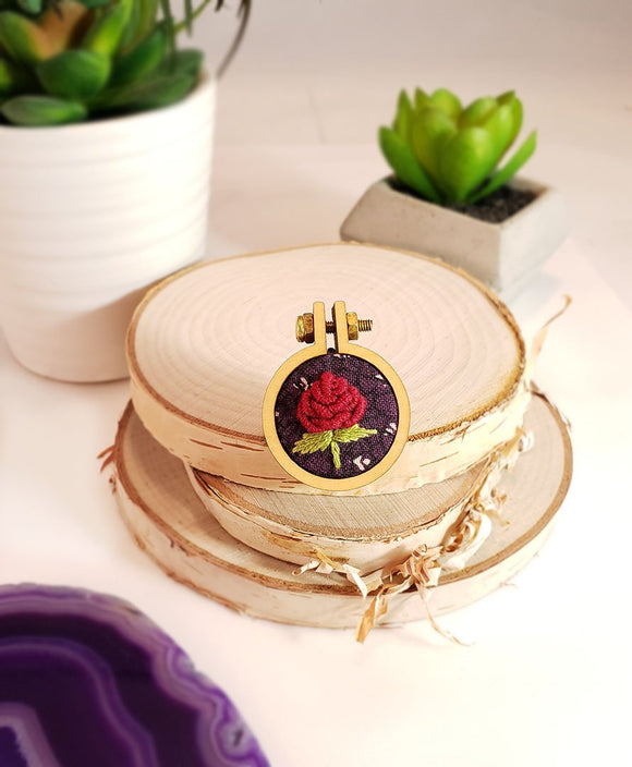 hand embroidered red rose pin