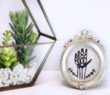 hand embroidered skeleton framed home decor