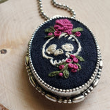 one of a kind hand embroidered skull and roses oval necklace pin combo