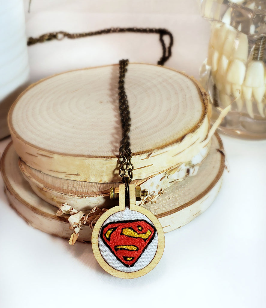 hand embroidered Superman logo necklace