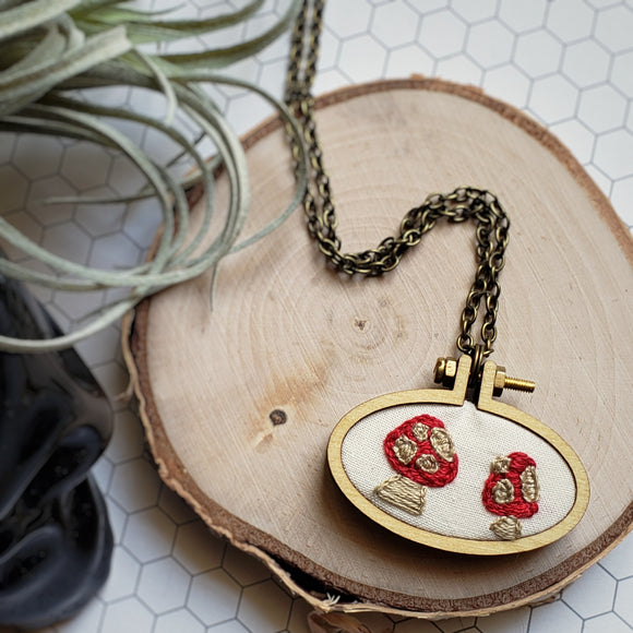 hand embroidered toadstool necklace