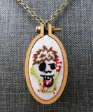 embroidered hungry Zombie necklace blood brains guts Pretty In Skulls Collection