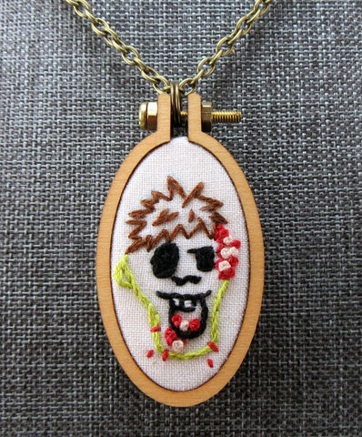 embroidered hungry Zombie necklace blood brains guts