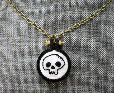 embroidered tiny skull necklace
