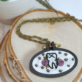 hand embroidered floral tooth necklace