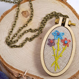 triple daisy hand embroidered necklace