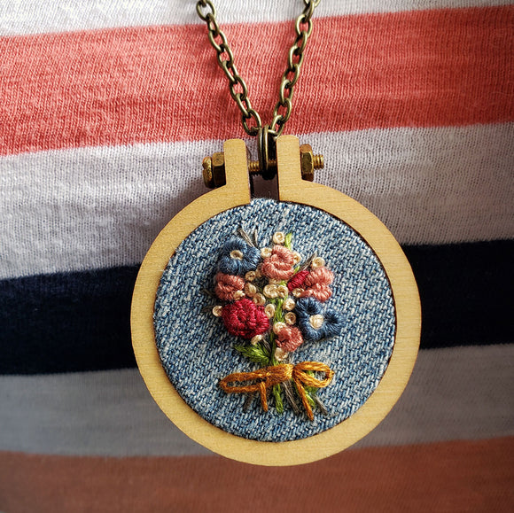 rustic hand embroidered pin pendant necklace