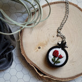 hand embroidered red rose necklace