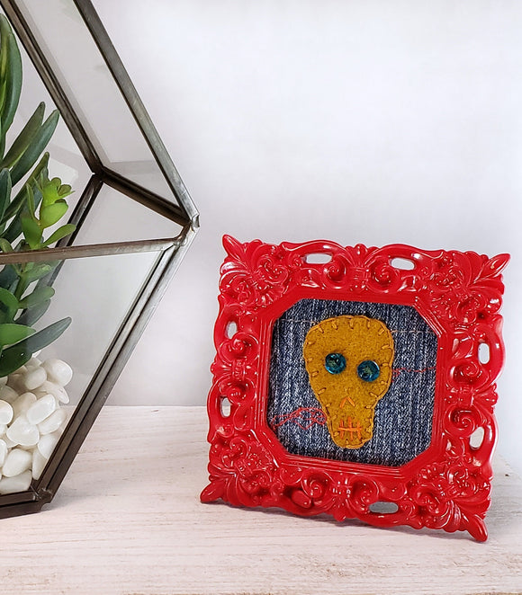 felt mustard skull framed embroidered art