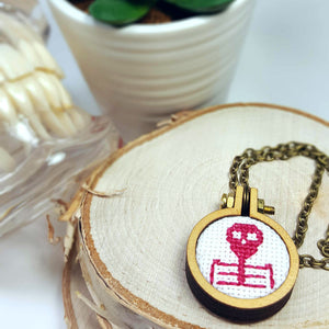 hot pink cross stitch skull cameo jewelry