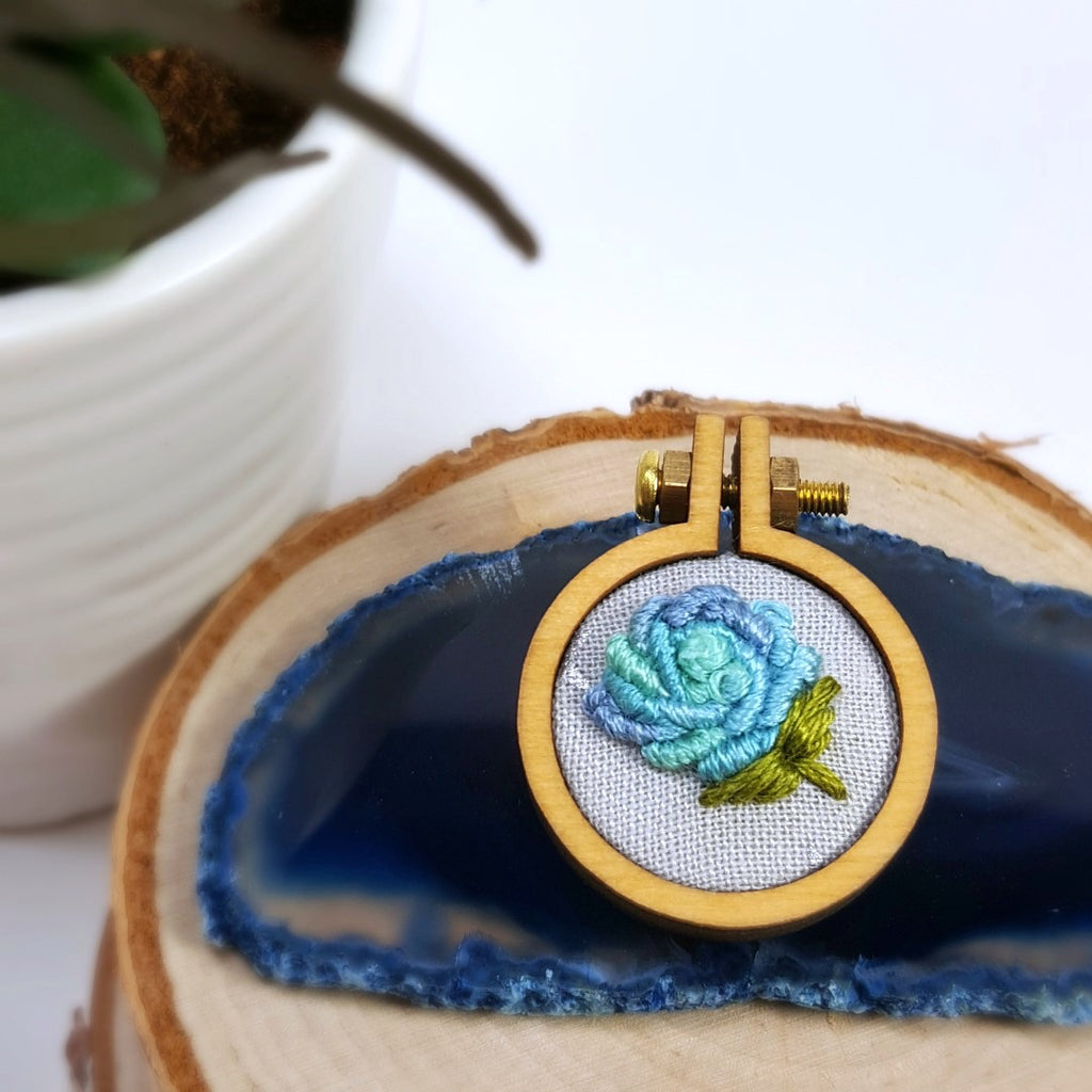 hand embroidered pastel rose pin
