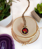 maroon red rose hand embroidered necklace