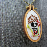 hand embroidered cute and creepy hungry Zombie pendant Pretty In Skulls Collection