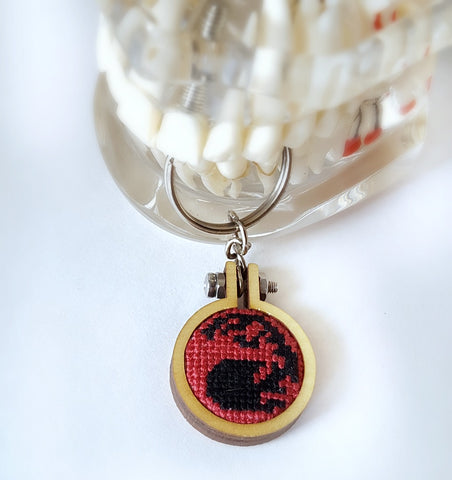 magic the gathering cross stitch mountain keychain