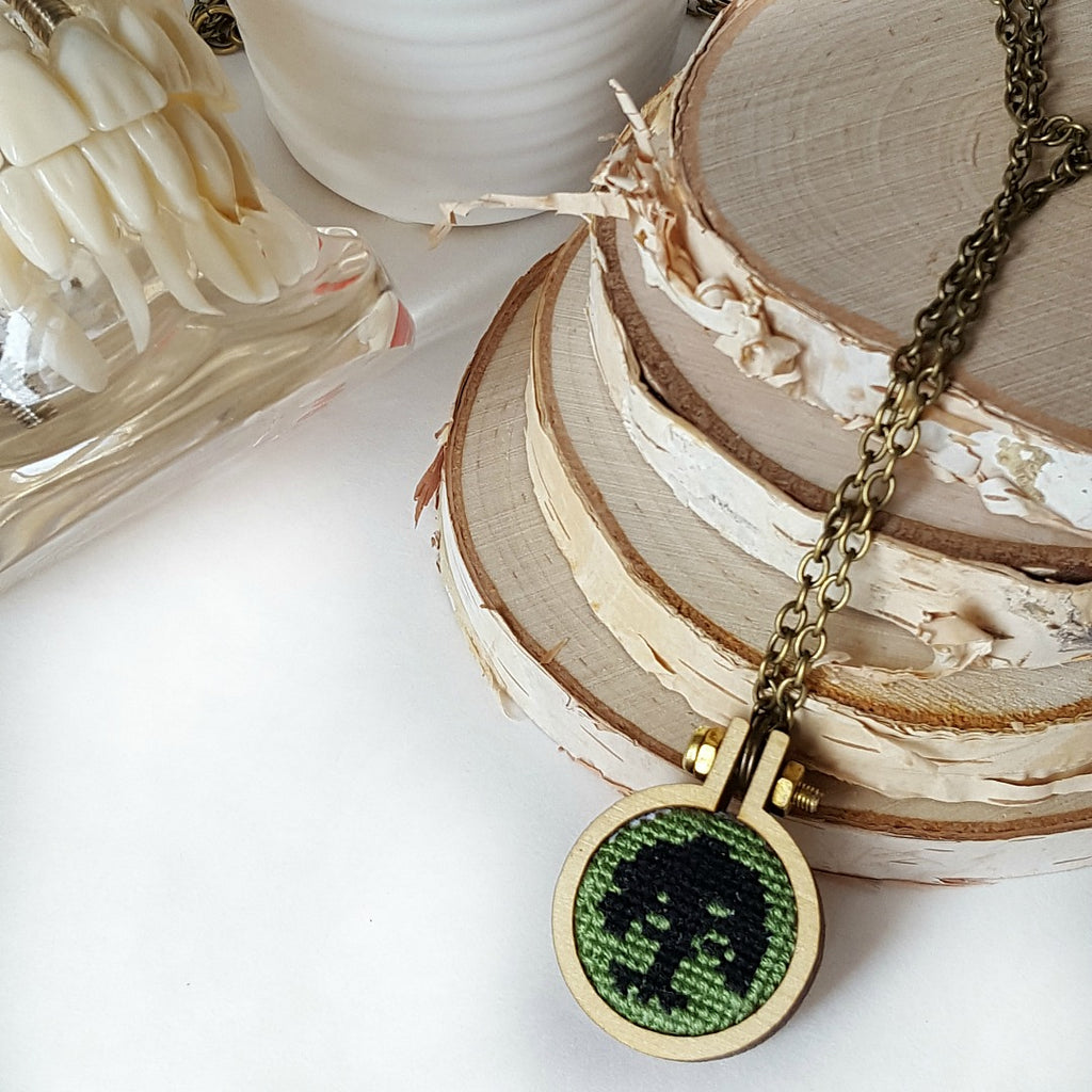 cross stitch forest mana mtg necklace