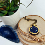 rainbow embroidered french knot necklace