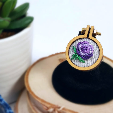 hand embroidered purple rose adjustable ring