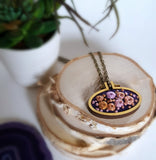 purple pink orange hand embroidered rosette necklace