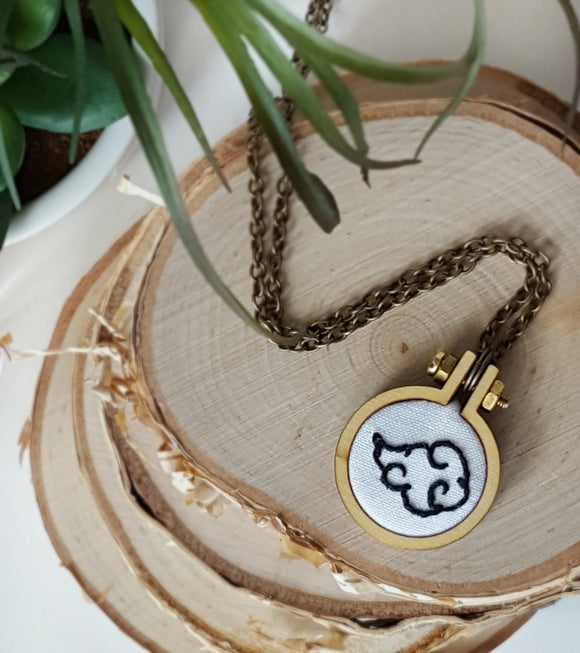 hand embroidered Naruto cloud symbol necklace