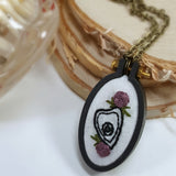 embroidered floral planchette pendant