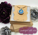 blue forget me not stitched necklace