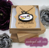 Pin Up Lady embroidered necklace