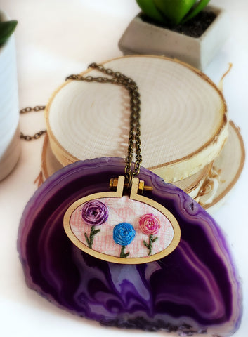 pastel hand embroidered rosette necklace