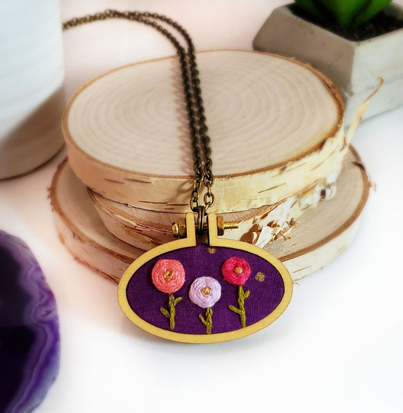 bright hand embroidered rosette necklace