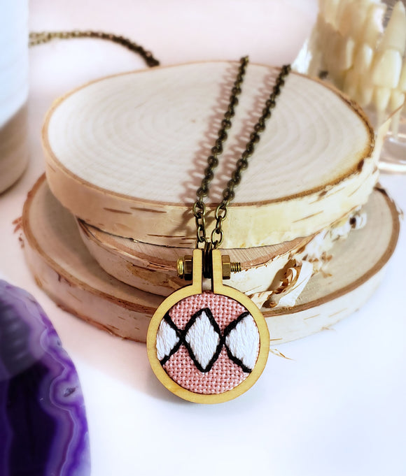 hand embroidered pink power ranger diamond necklace