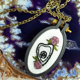 hand embroidered magical planchette necklace