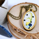 yellow and blue hand embroidered floral necklace