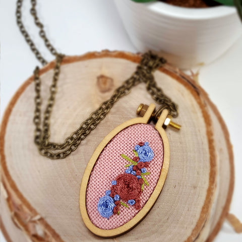 pretty in pink floral embroidered necklace