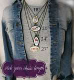various chain lengths available for your hand embroidered necklace from Pretty In Shop